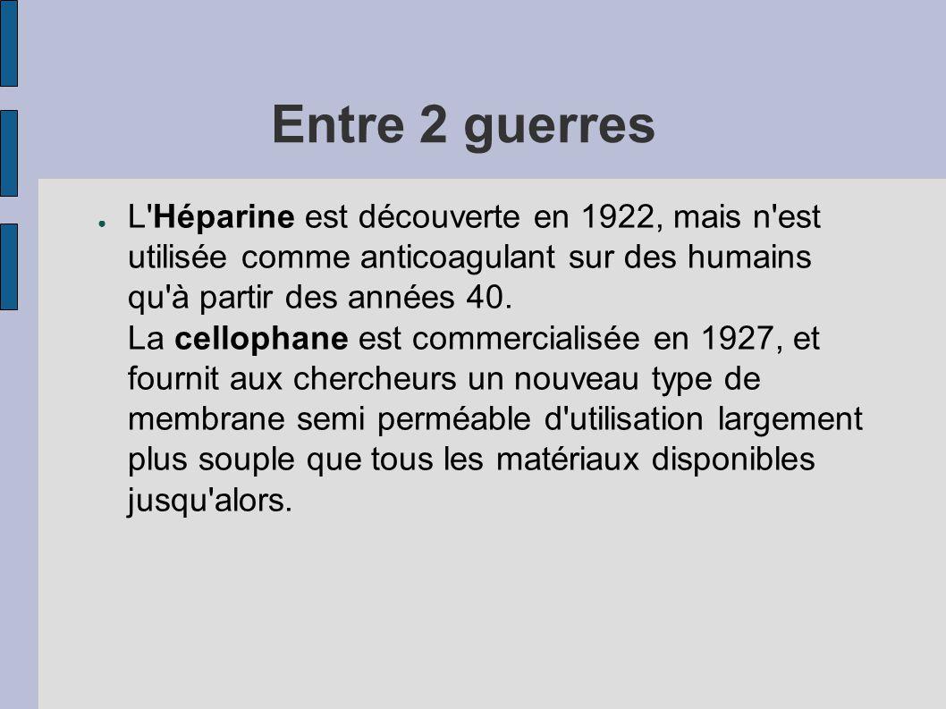 Entre 2 guerres ● L'Héparine est découverte en 1922, mais n'est utilisée comme anticoagulant sur des humains qu'à partir des années 40. La cellophane