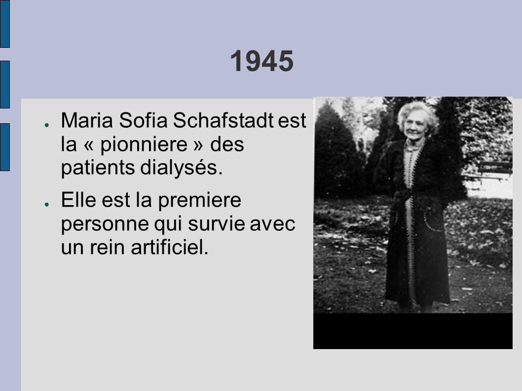 1945 ● Maria Sofia Schafstadt est la « pionniere » des patients dialysés. ● Elle est la premiere personne qui survie avec un rein artificiel.