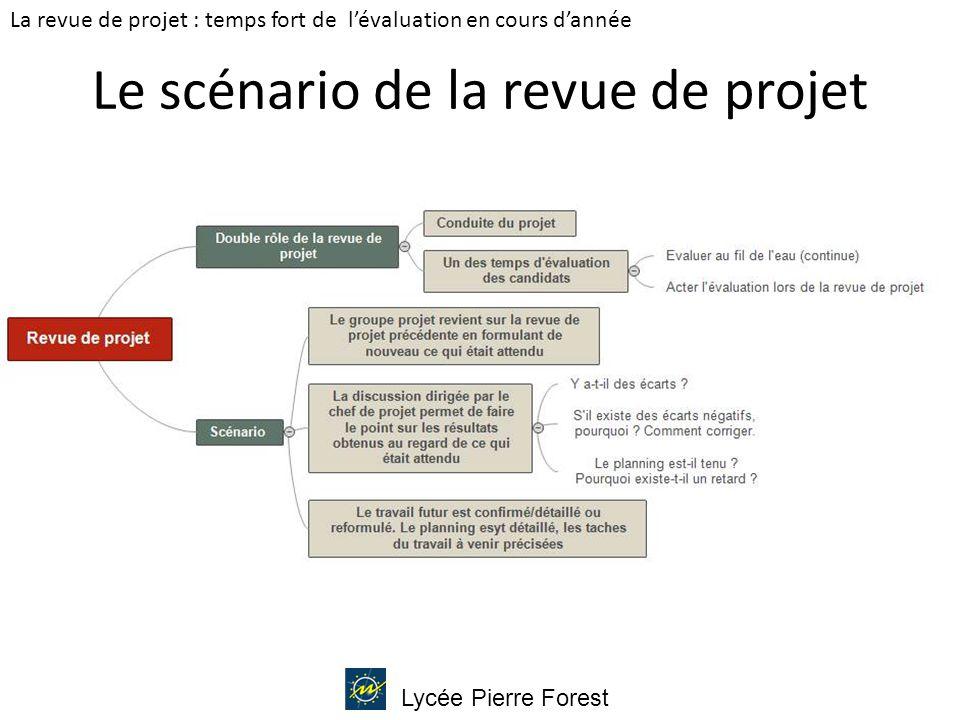 Lycée Pierre Forest Le scénario de la revue de projet La revue de projet : temps fort de l'évaluation en cours d'année