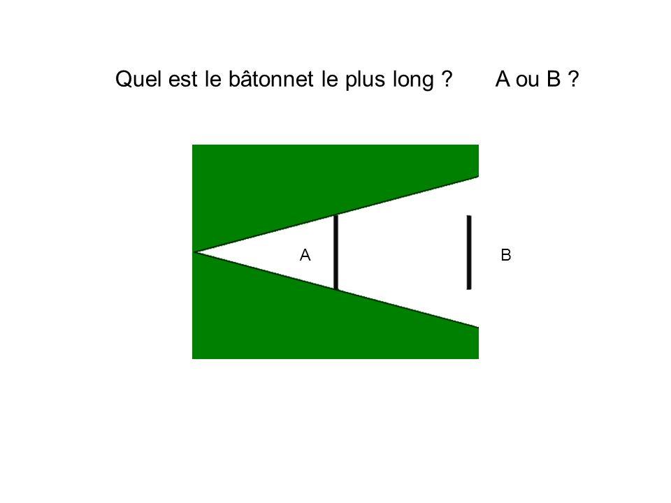 Quel est le bâtonnet le plus long ? A ou B ? AB