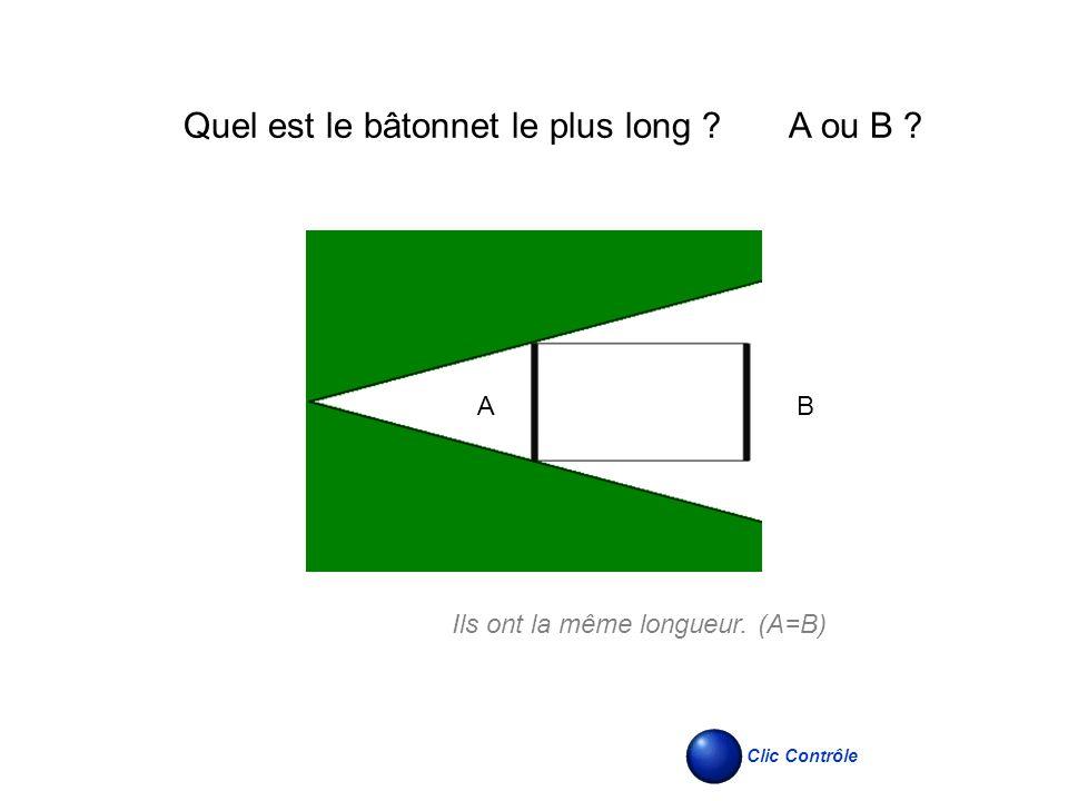 AB Ils ont la même longueur. (A=B) Clic Contrôle Quel est le bâtonnet le plus long ? A ou B ?