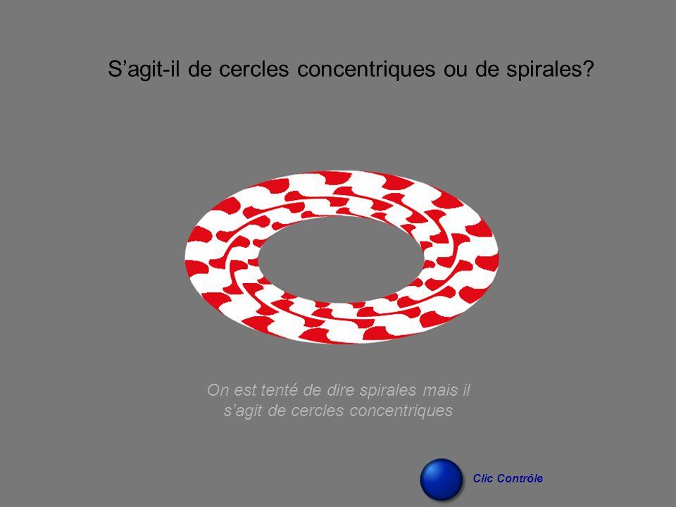 On est tenté de dire spirales mais il s'agit de cercles concentriques S'agit-il de cercles concentriques ou de spirales? Clic Contrôle