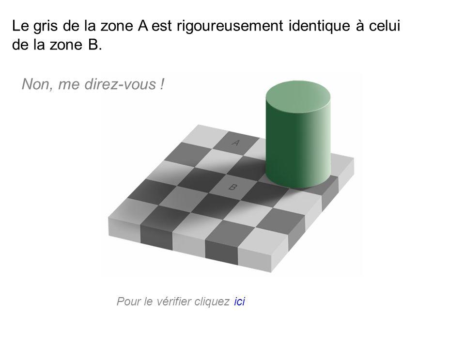 Le gris de la zone A est rigoureusement identique à celui de la zone B. Pour le vérifier cliquez ici Non, me direz-vous !