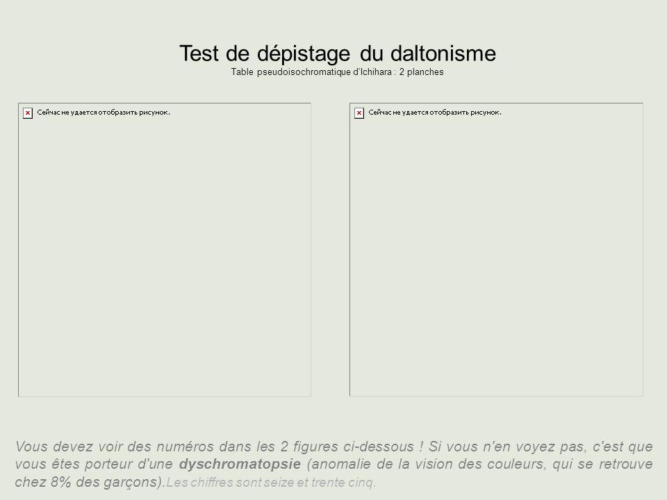 Test de dépistage du daltonisme Table pseudoisochromatique d'Ichihara : 2 planches Vous devez voir des numéros dans les 2 figures ci-dessous ! Si vous