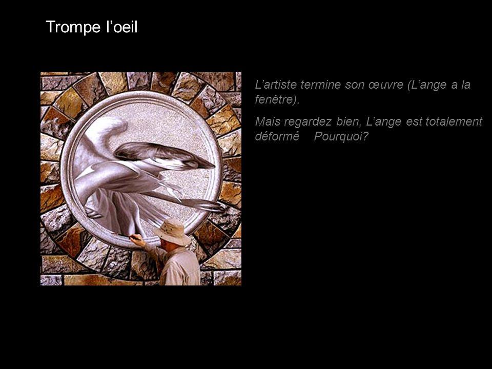 Trompe l'oeil L'artiste termine son œuvre (L'ange a la fenêtre). Mais regardez bien, L'ange est totalement déformé Pourquoi?
