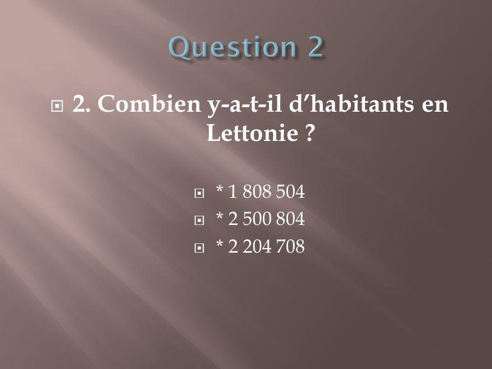  2. Combien y-a-t-il d'habitants en Lettonie ?  * 1 808 504  * 2 500 804  * 2 204 708