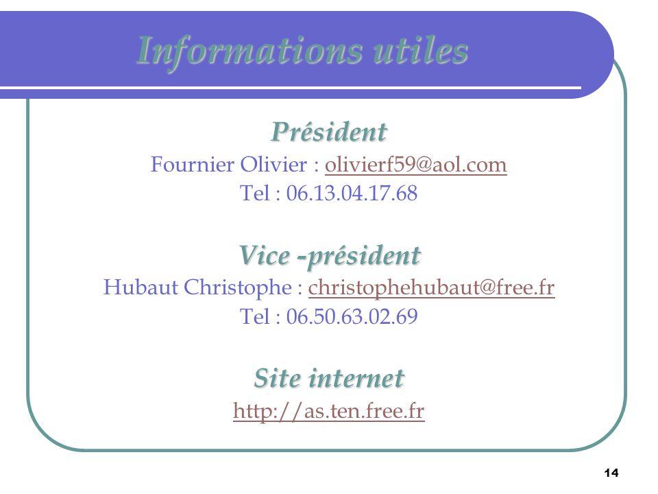 14 Informations utiles Président Fournier Olivier : olivierf59@aol.comolivierf59@aol.com Tel : 06.13.04.17.68 Vice -président Hubaut Christophe : chri