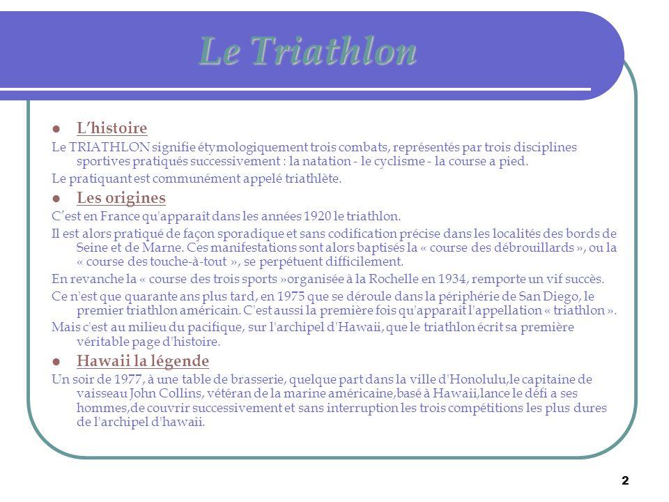 2 Le Triathlon  L'histoire Le TRIATHLON signifie étymologiquement trois combats, représentés par trois disciplines sportives pratiqués successivement