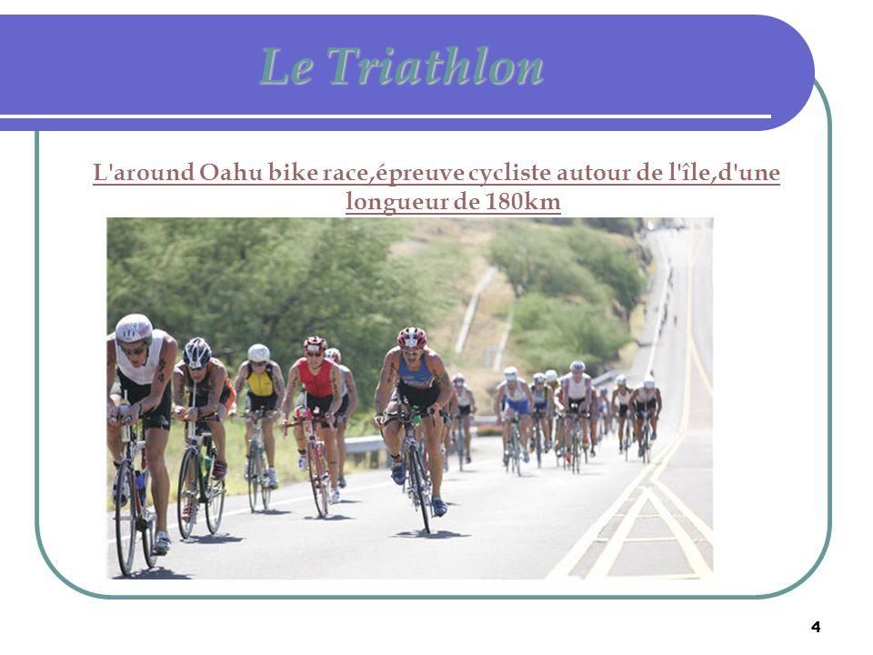 4 Le Triathlon L'around Oahu bike race,épreuve cycliste autour de l'île,d'une longueur de 180km