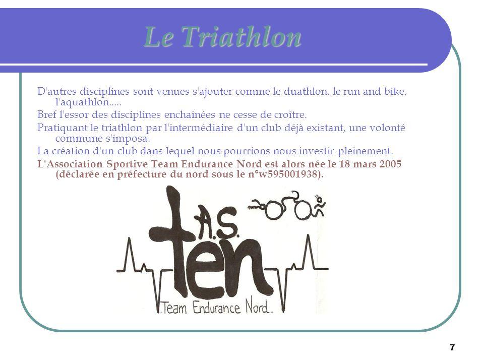 7 Le Triathlon D'autres disciplines sont venues s'ajouter comme le duathlon, le run and bike, l'aquathlon..... Bref l'essor des disciplines enchaînées