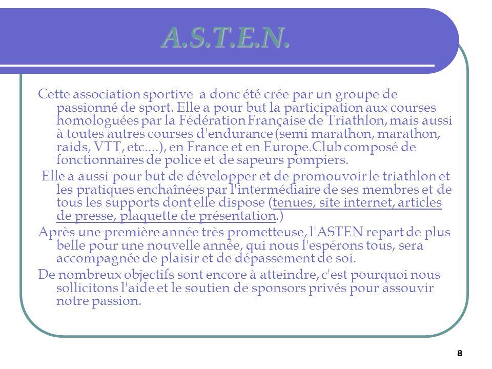 8 A.S.T.E.N. Cette association sportive a donc été crée par un groupe de passionné de sport. Elle a pour but la participation aux courses homologuées