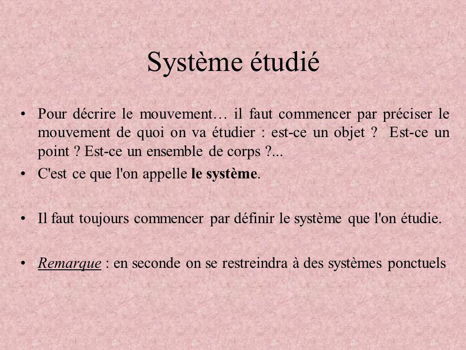 Système étudié •Pour décrire le mouvement… il faut commencer par préciser le mouvement de quoi on va étudier : est-ce un objet ? Est-ce un point ? Est