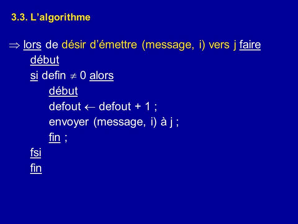 3.3. L'algorithme  lors de désir d'émettre (message, i) vers j faire début si defin  0 alors début defout  defout + 1 ; envoyer (message, i) à j ;
