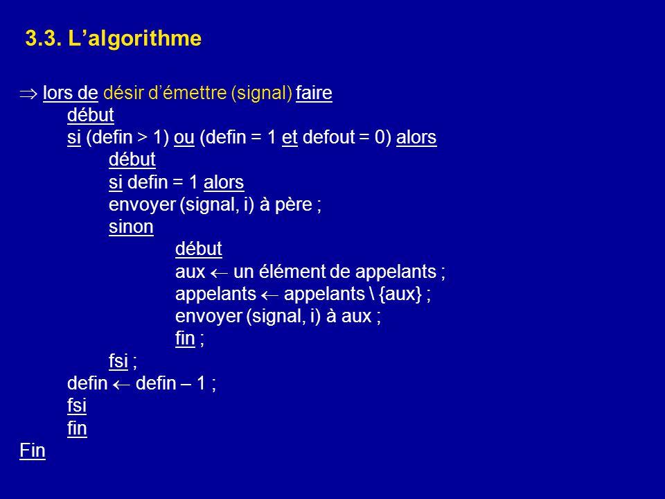 3.3. L'algorithme  lors de désir d'émettre (signal) faire début si (defin > 1) ou (defin = 1 et defout = 0) alors début si defin = 1 alors envoyer (s