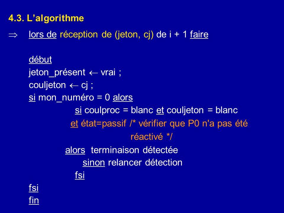 4.3. L'algorithme  lors de réception de (jeton, cj) de i + 1 faire début jeton_présent  vrai ; couljeton  cj ; si mon_numéro = 0 alors si coulproc