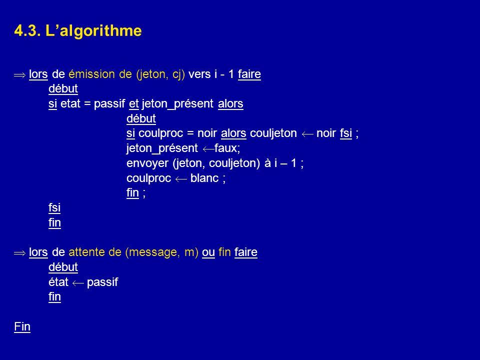 4.3. L'algorithme  lors de émission de (jeton, cj) vers i - 1 faire début si etat = passif et jeton_présent alors début si coulproc = noir alors coul