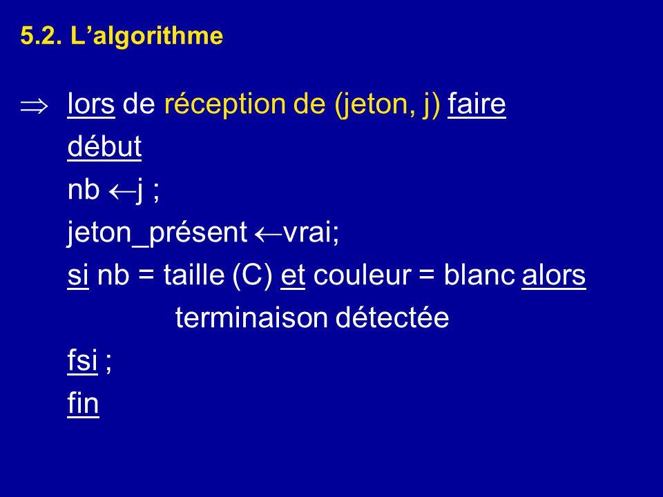 5.2. L'algorithme  lors de réception de (jeton, j) faire début nb  j ; jeton_présent  vrai; si nb = taille (C) et couleur = blanc alors terminaison
