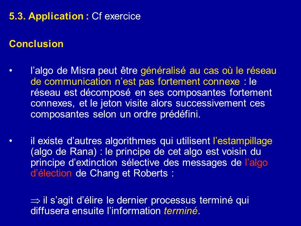 5.3. Application : Cf exercice Conclusion •l'algo de Misra peut être généralisé au cas où le réseau de communication n'est pas fortement connexe : le