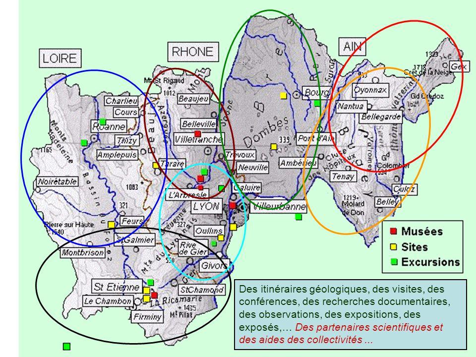 Des itinéraires géologiques, des visites, des conférences, des recherches documentaires, des observations, des expositions, des exposés,… Des partenaires scientifiques et des aides des collectivités...