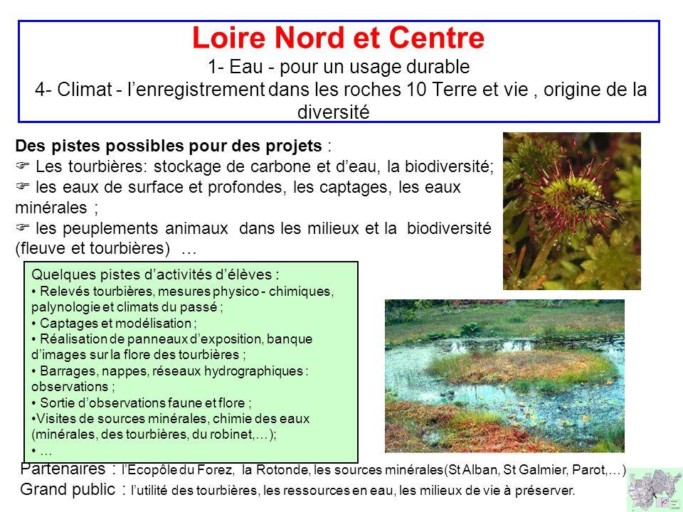 Loire Nord et Centre 1- Eau - pour un usage durable 4- Climat - l'enregistrement dans les roches 10 Terre et vie, origine de la diversité Des pistes possibles pour des projets :  Les tourbières: stockage de carbone et d'eau, la biodiversité;  les eaux de surface et profondes, les captages, les eaux minérales ;  les peuplements animaux dans les milieux et la biodiversité (fleuve et tourbières) … Partenaires : l'Ecopôle du Forez, la Rotonde, les sources minérales(St Alban, St Galmier, Parot,…) Grand public : l'utilité des tourbières, les ressources en eau, les milieux de vie à préserver.