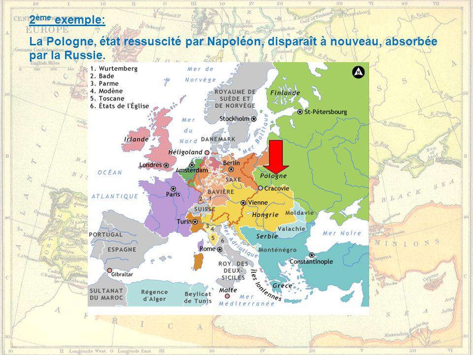 2 ème exemple: La Pologne, état ressuscité par Napoléon, disparaît à nouveau, absorbée par la Russie.