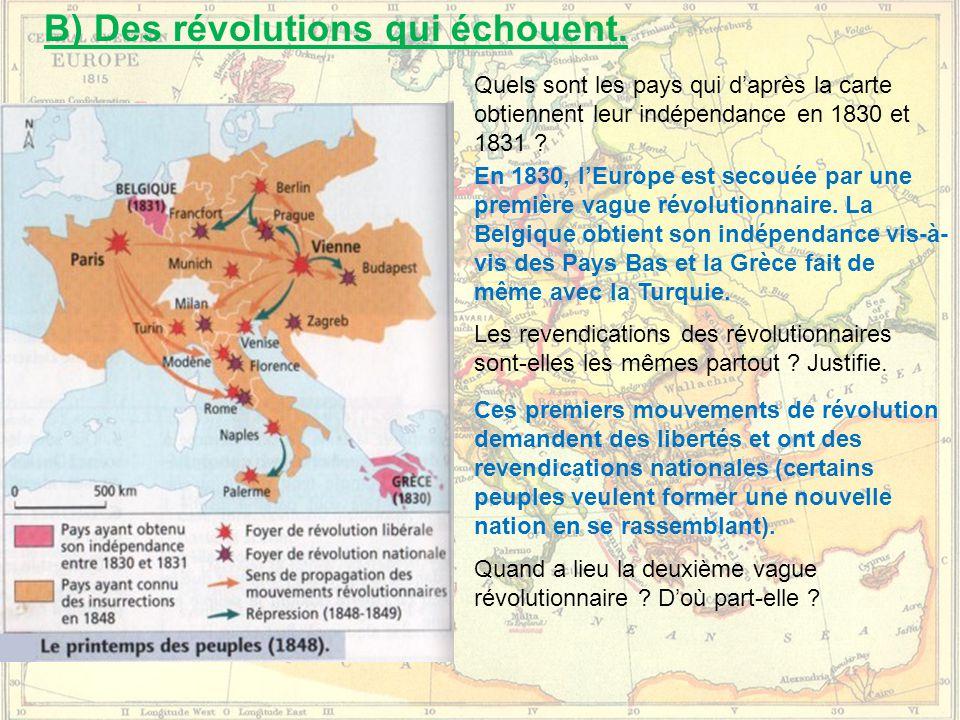 B) Des révolutions qui échouent.