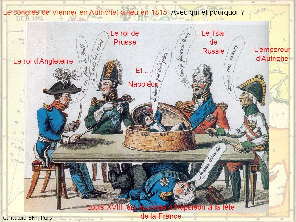 Le congrès de Vienne( en Autriche) a lieu en 1815.