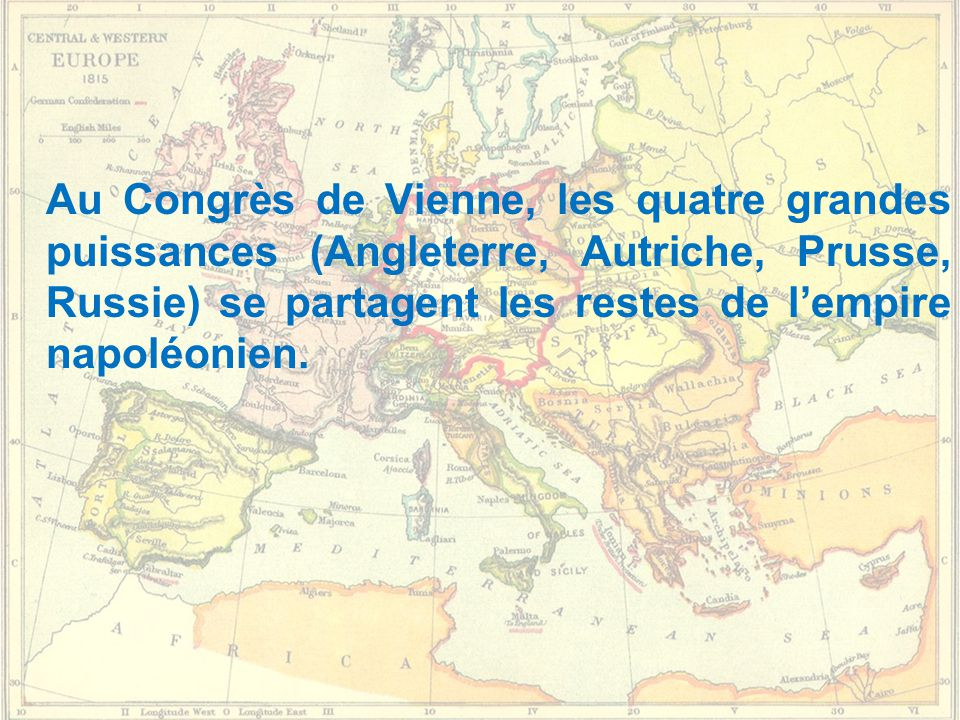 Au Congrès de Vienne, les quatre grandes puissances (Angleterre, Autriche, Prusse, Russie) se partagent les restes de l'empire napoléonien.