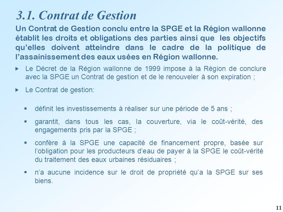 Un Contrat de Gestion conclu entre la SPGE et la Région wallonne établit les droits et obligations des parties ainsi que les objectifs qu'elles doivent atteindre dans le cadre de la politique de l'assainissement des eaux usées en Région wallonne.