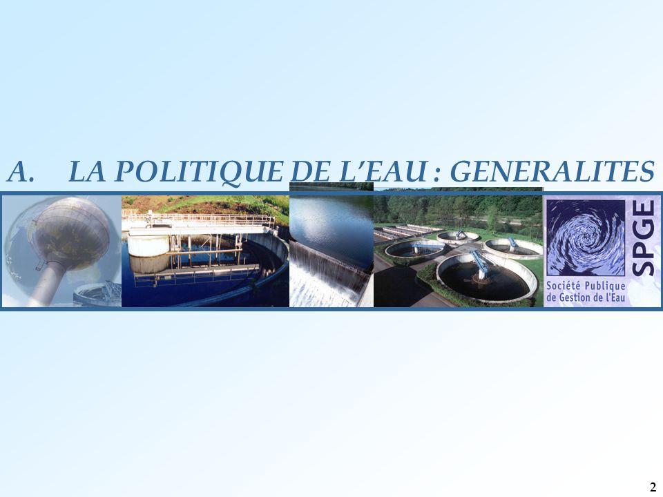 A.LA POLITIQUE DE L'EAU : GENERALITES 2