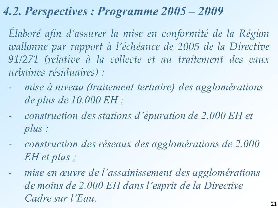 Élaboré afin d'assurer la mise en conformité de la Région wallonne par rapport à l'échéance de 2005 de la Directive 91/271 (relative à la collecte et au traitement des eaux urbaines résiduaires) : - mise à niveau (traitement tertiaire) des agglomérations de plus de 10.000 EH ; - construction des stations d'épuration de 2.000 EH et plus ; - construction des réseaux des agglomérations de 2.000 EH et plus ; - mise en œuvre de l'assainissement des agglomérations de moins de 2.000 EH dans l'esprit de la Directive Cadre sur l'Eau.