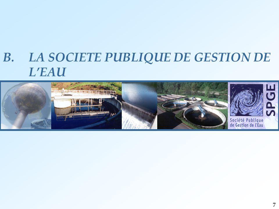 B.LA SOCIETE PUBLIQUE DE GESTION DE L'EAU 7