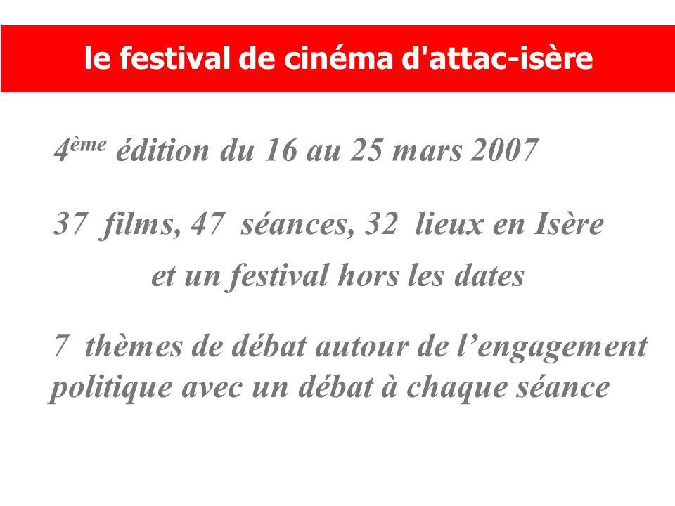 4 ème édition du 16 au 25 mars 2007 le festival de cinéma d attac-isère 37 films, 47 séances, 32 lieux en Isère et un festival hors les dates 7 thèmes de débat autour de l'engagement politique avec un débat à chaque séance
