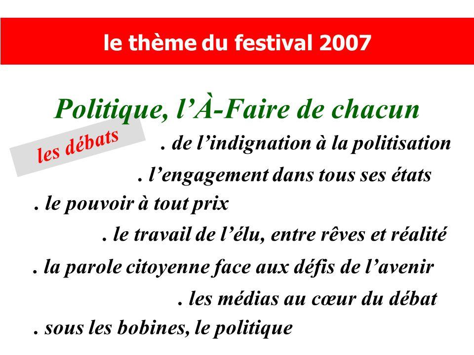 les débats Politique, l'À-Faire de chacun le thème du festival 2007.