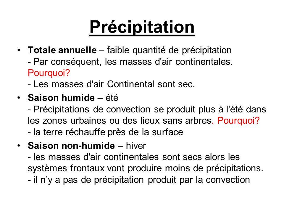 Précipitation •Totale annuelle – faible quantité de précipitation - Par conséquent, les masses d'air continentales. Pourquoi? - Les masses d'air Conti