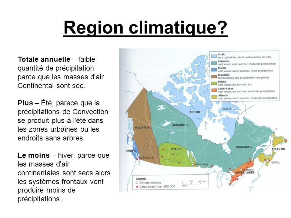 Region climatique? Totale annuelle – faible quantité de précipitation parce que les masses d'air Continental sont sec. Plus – Été, parece que la préci