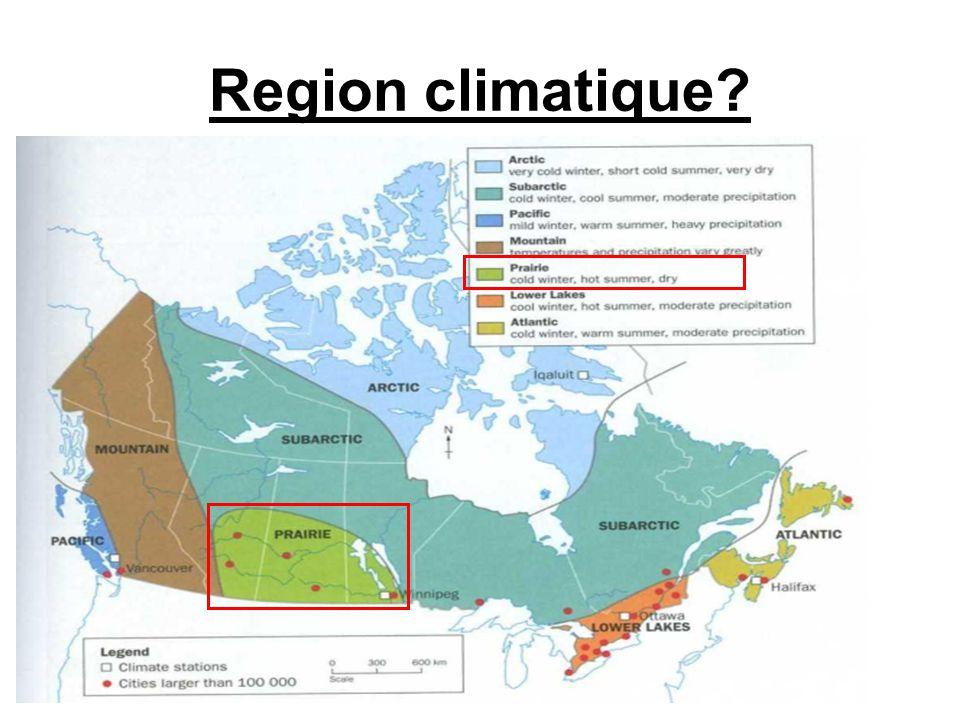Carte des régions climatique
