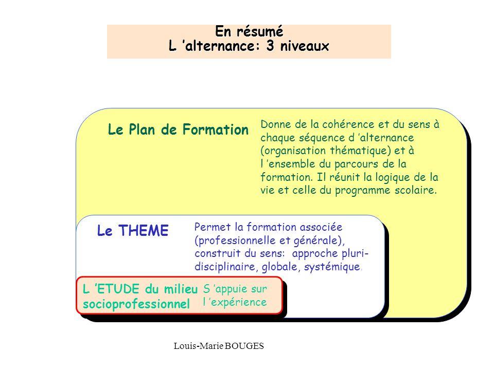 Maison Familiale Rurale d'Éducation et d'Orientation - 18 Louis-Marie BOUGES Le Plan de Formation Le THEME L 'ETUDE du milieu socioprofessionnel En ré