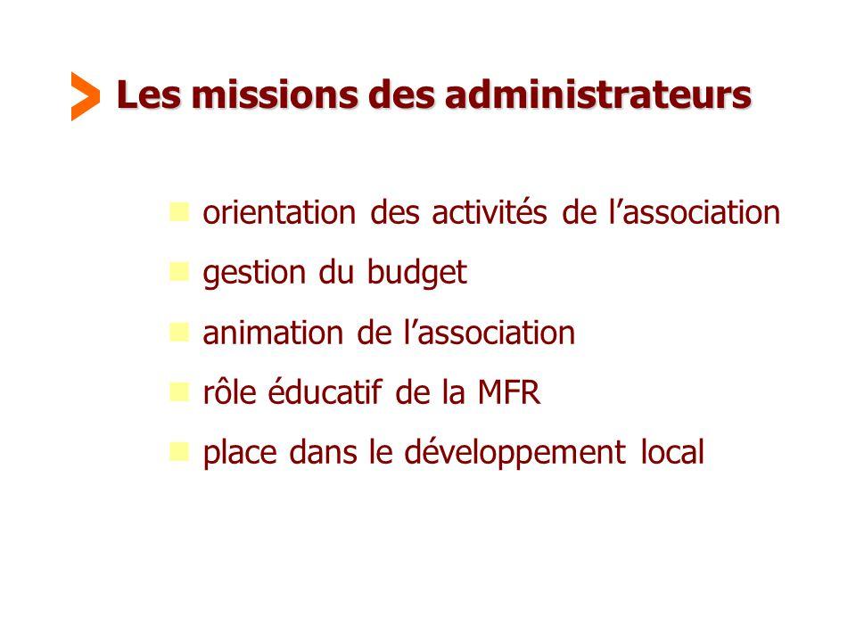 Maison Familiale Rurale d'Éducation et d'Orientation - 28 Les missions des administrateurs  orientation des activités de l'association  gestion du b