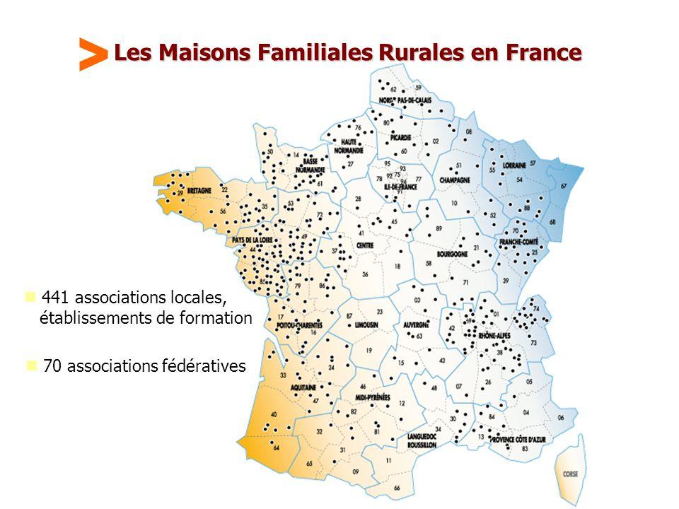 Maison Familiale Rurale d'Éducation et d'Orientation - 31 Les Maisons Familiales Rurales en France  441 associations locales, établissements de formation  70 associations fédératives