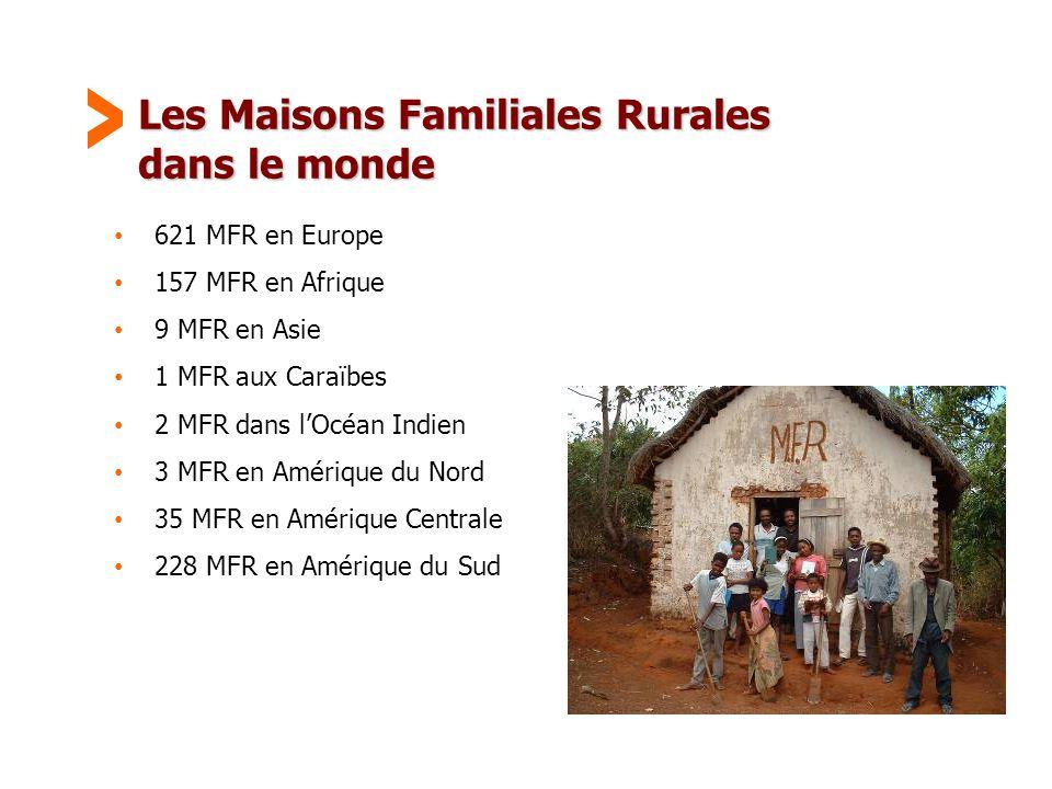 Maison Familiale Rurale d'Éducation et d'Orientation - 38 Les Maisons Familiales Rurales dans le monde • 621 MFR en Europe • 157 MFR en Afrique • 9 MFR en Asie • 1 MFR aux Caraïbes • 2 MFR dans l'Océan Indien • 3 MFR en Amérique du Nord • 35 MFR en Amérique Centrale • 228 MFR en Amérique du Sud