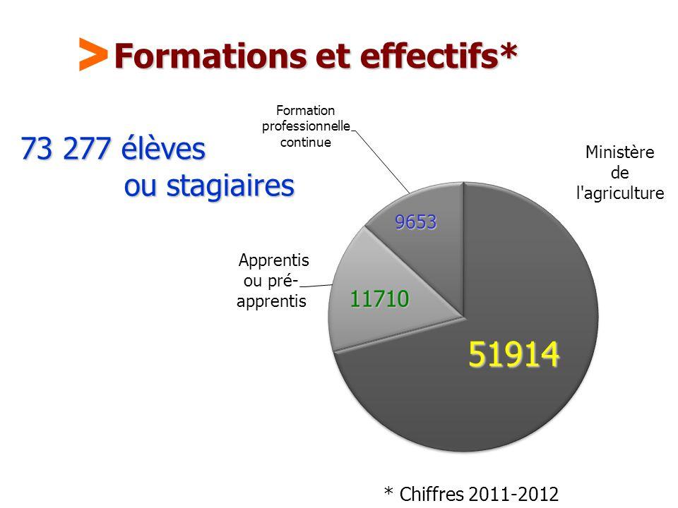 Maison Familiale Rurale d'Éducation et d'Orientation - 43 Formations et effectifs* 73 277 élèves ou stagiaires * Chiffres 2011-2012