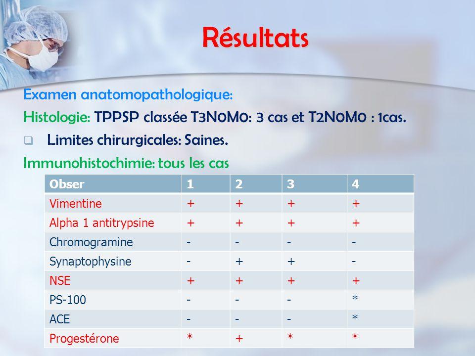 Résultats Examen anatomopathologique: Histologie: TPPSP classée T3N0M0: 3 cas et T2N0M0 : 1cas.   Limites chirurgicales: Saines. Immunohistochimie: