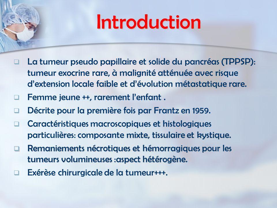 Introduction   La tumeur pseudo papillaire et solide du pancréas (TPPSP): tumeur exocrine rare, à malignité atténuée avec risque d'extension locale
