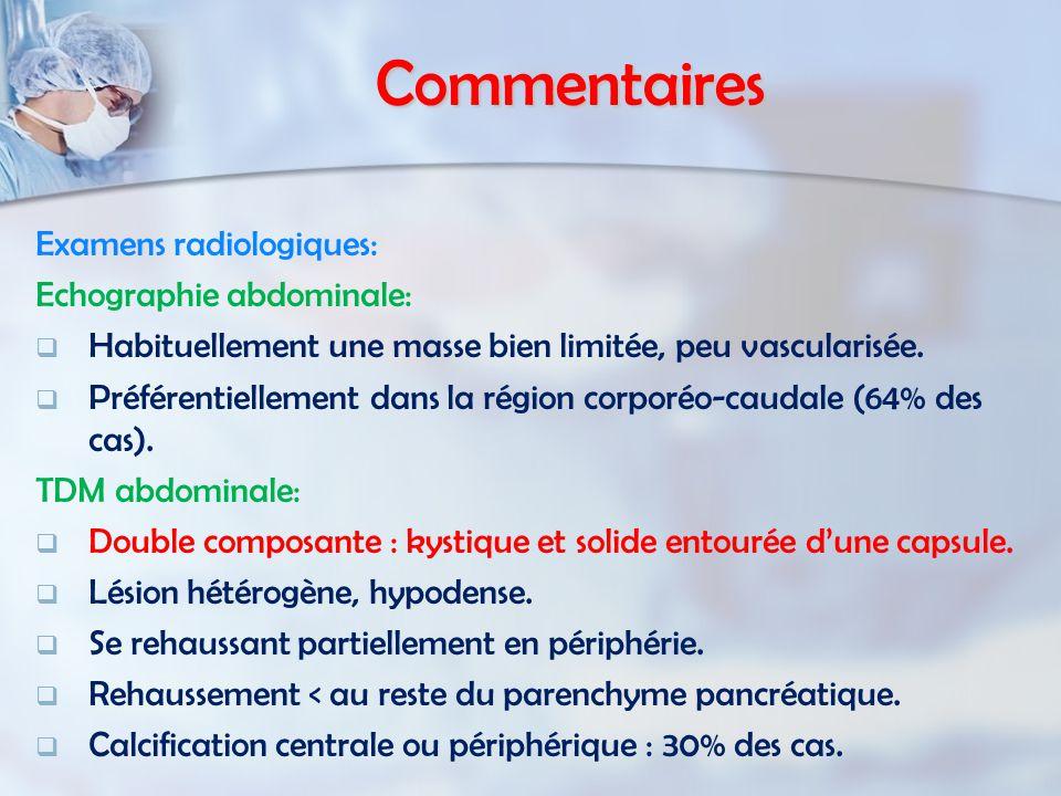 Commentaires Examens radiologiques: Echographie abdominale:   Habituellement une masse bien limitée, peu vascularisée.   Préférentiellement dans l