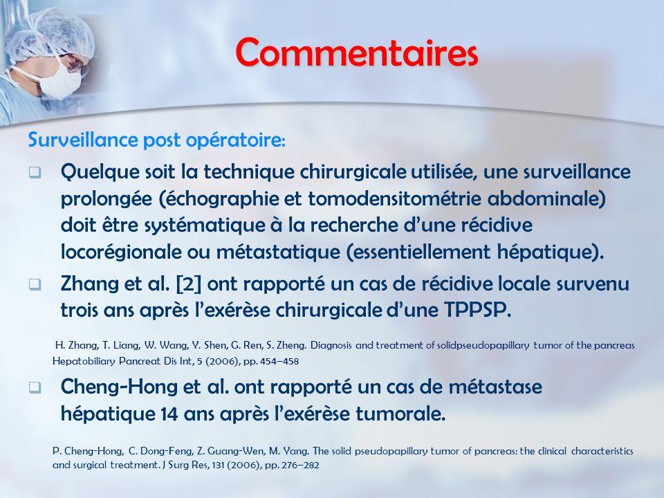 Commentaires Surveillance post opératoire:   Quelque soit la technique chirurgicale utilisée, une surveillance prolongée (échographie et tomodensito