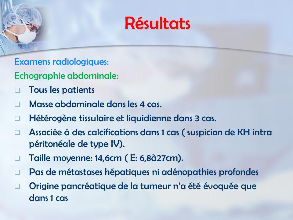 Résultats Examens radiologiques: Echographie abdominale:   Tous les patients   Masse abdominale dans les 4 cas.   Hétérogène tissulaire et liqui