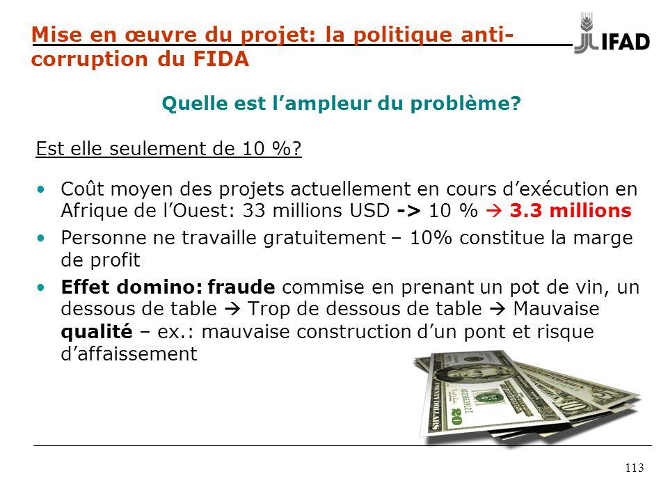 113 Mise en œuvre du projet: la politique anti- corruption du FIDA Quelle est l'ampleur du problème.