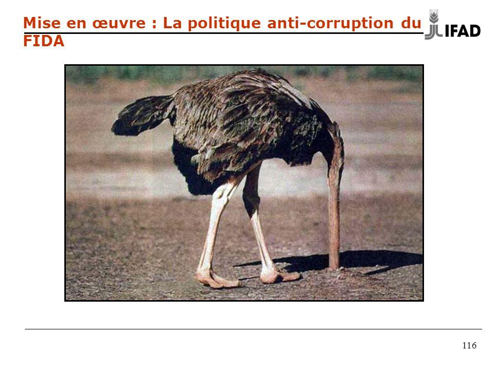 116 Mise en œuvre : La politique anti-corruption du FIDA