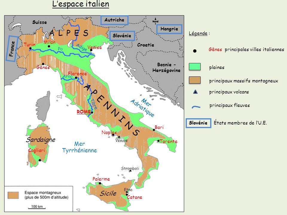Turin Gênes ROME Cagliari Palerme Catane Naples Bari Florence Venise Tarente Milan Gênes principales villes italiennes plaines principaux massifs mont